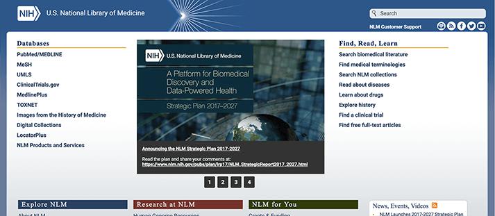 アメリカ国立医学図書館公式サイト